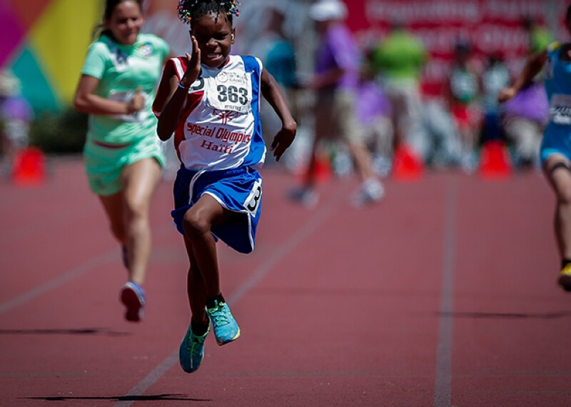 Woman from Special Olympics Haiti competes in race at the 2019 World Games.