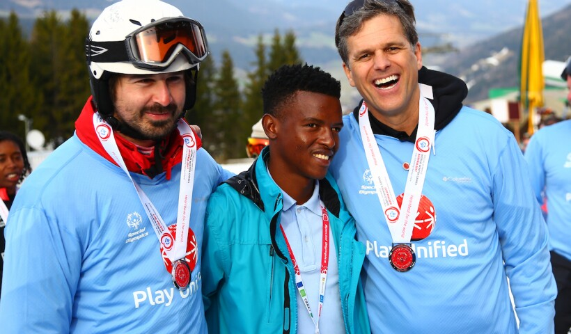 Mario Horn, Shadi Brightfield, and Tim Shriver at a Snowboarding Event