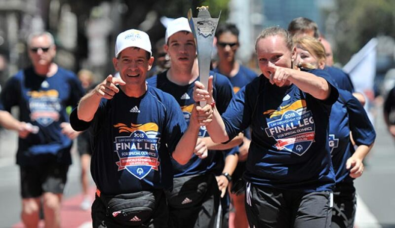 The Final Leg team carries the torch throughout California en route to the Opening Ceremony of the 2015 Special Olympics World Summer Games in Los Angeles.
