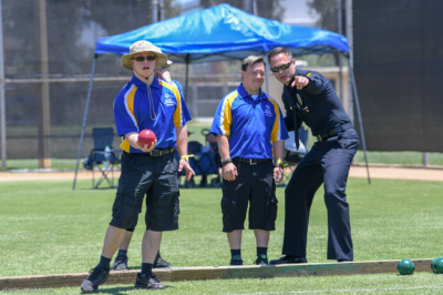 Special Olympics athletes playing bocce