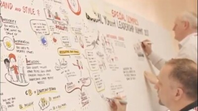 Two people illustrating artistic visual notes on a large drawing board.