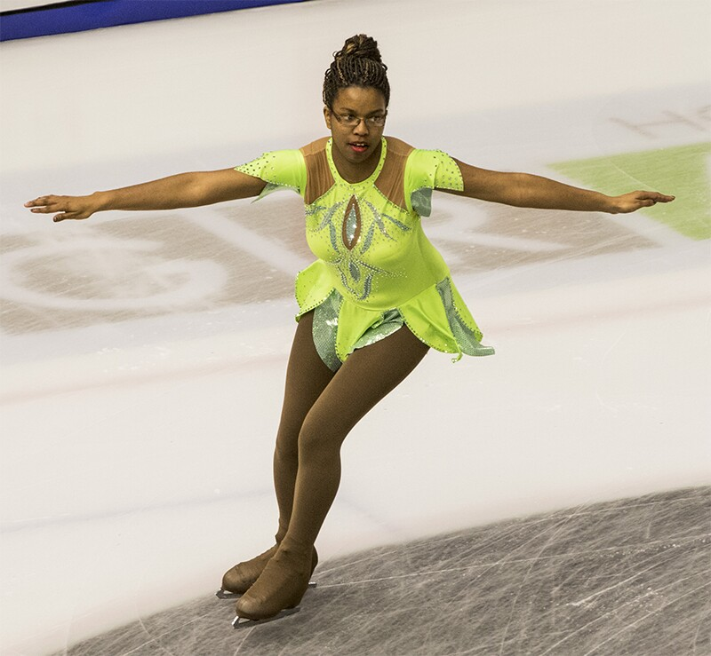 Sharita Taylor, part of Special Olympics USA's most recent World Winter Games team, performs her figure-skating routine.