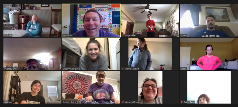 Special Olympics Kansas athletes and Unified partners connect via Zoom.