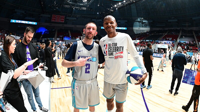 Kyle Emery, Special Olympics Colorado, USA poses with Ray Allen, NBA Hall of Famer, after the game.