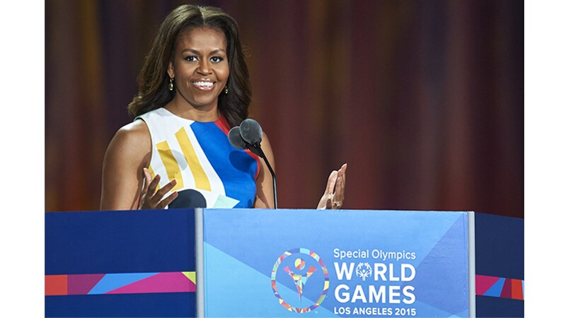 Michelle Obama speaking at the opening event at Special Olympics World Summer Games Los Angeles 2015