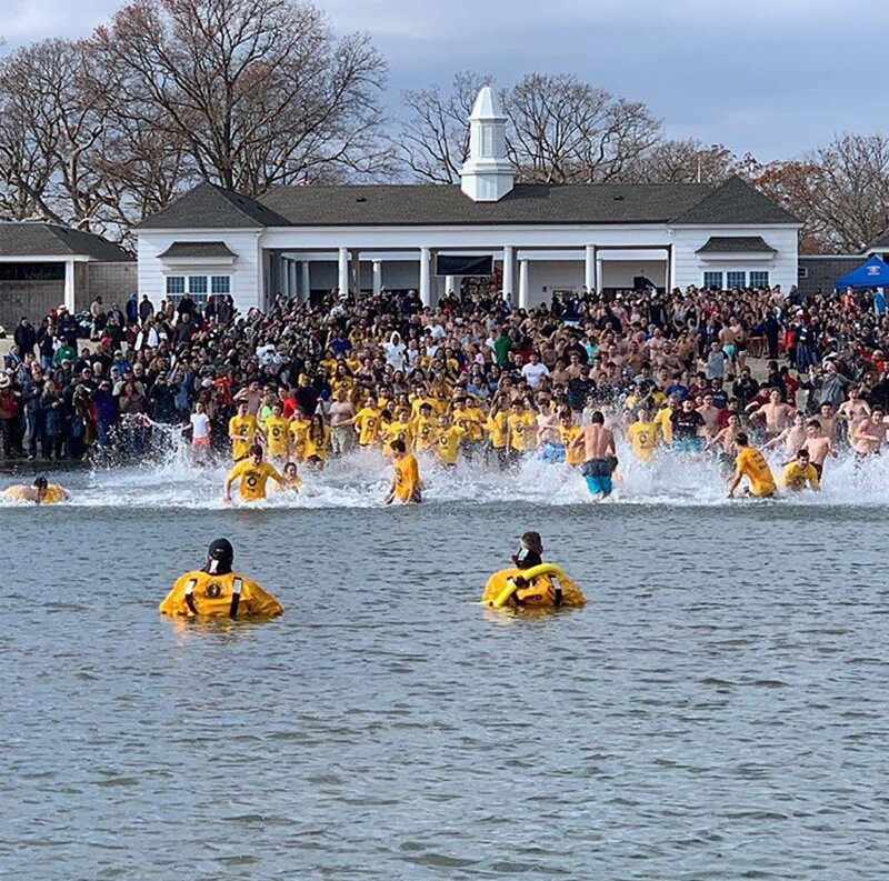 Athletes in the water for the polar plunge.