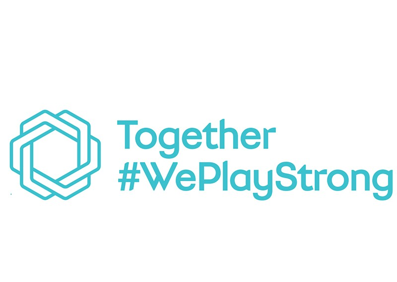 Teal and white Together #WePlayStrong logo