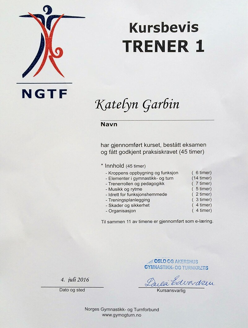 A white certificate with writing in Swedish and the name 'Katelyn Garbin' on it.