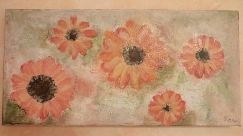 Lani De Mello Painting Large Daiseys.