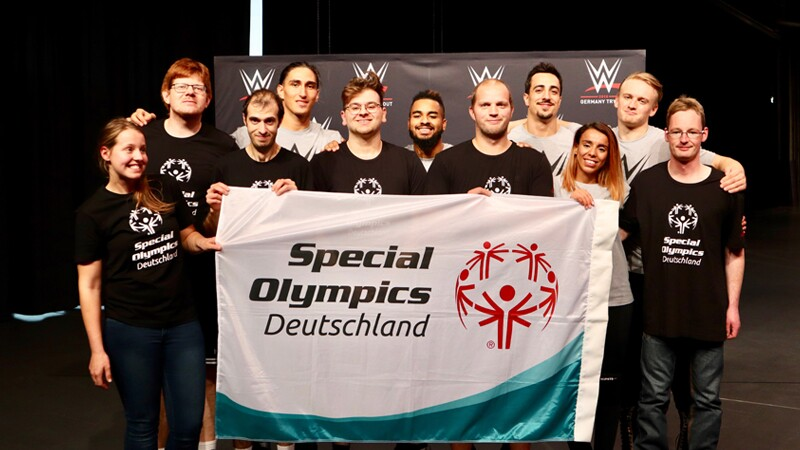 SO Deutschland athletes with WWE Superstars Baron Corbin, Curtis Axel and Bo Dallas.
