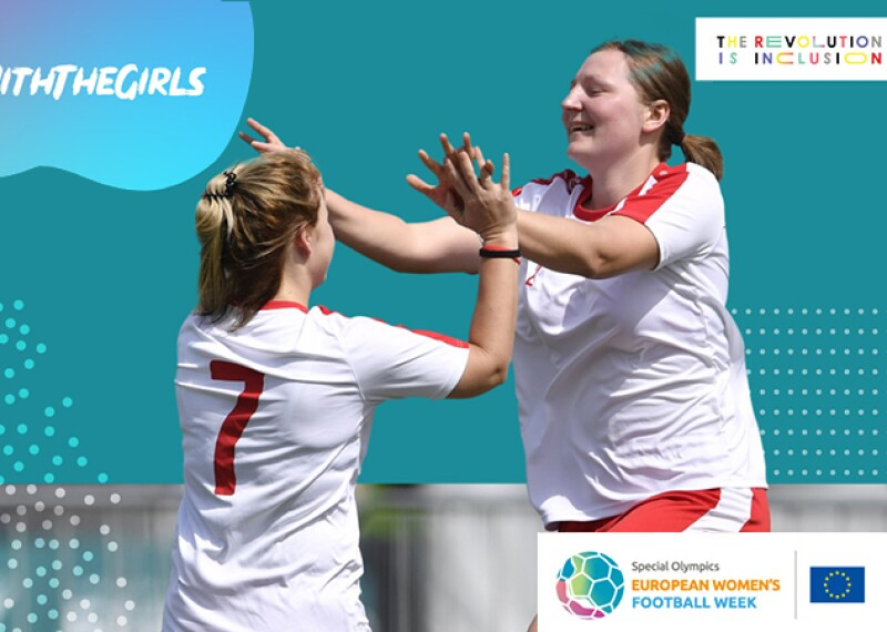 A cut-out photo of two female footballers high-fiving with colourful graphics in the background.