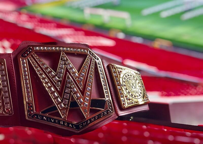 WWE Title belt at Old Trafford stadium