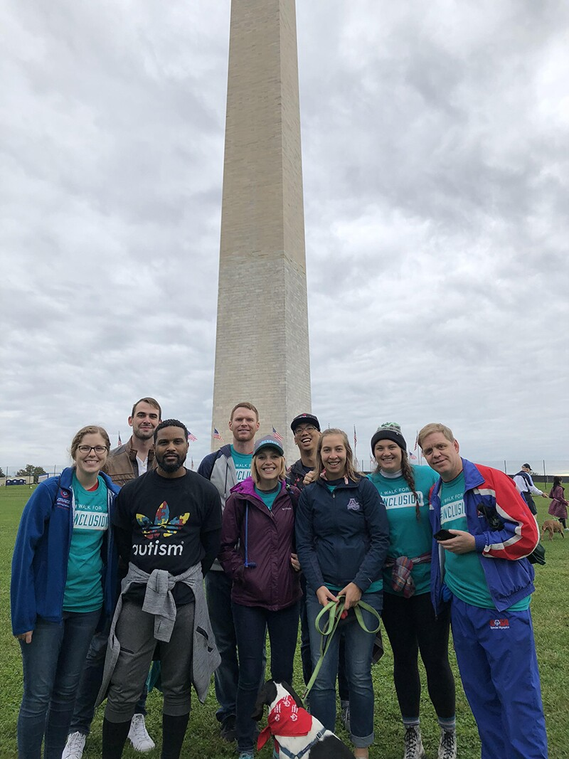 Special Olympics employees and friends in front of the Washington Monument.
