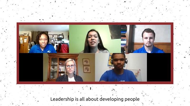 Students talking via a Zoom conversation.
