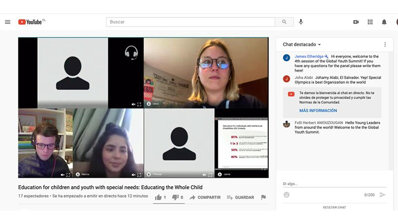 Three Special Olympics Youth Leaders share a presentation about education for people with intellectual disabilities through a digital Global Youth Summit.