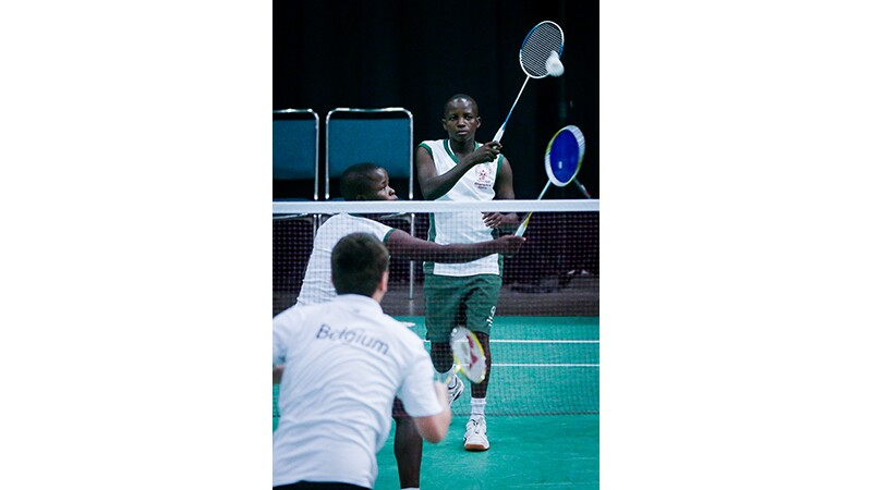 A badminton game being played at Special Olympics World Summer Games Los Angeles 2015