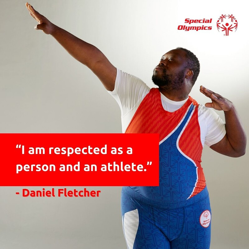 """Daniel showing off red white and blue athletic ware. Text reads: """"I am respected as a person and an athlete."""" - Daniel Fletcher"""