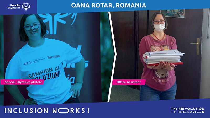 Oana dressed as an athlete on the left and as an office assistant on the right. Text Reads: Oana Rotar, Romania. Inclusion Works: The Revolution is Inclusion