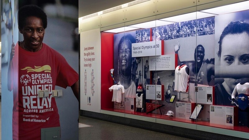 Photo of the Special Olympics 50 exhibit at the Smithsonian featuring Loretta Claiborne, Lee Dockins, Marty Sheets and Ricardo Thornton.