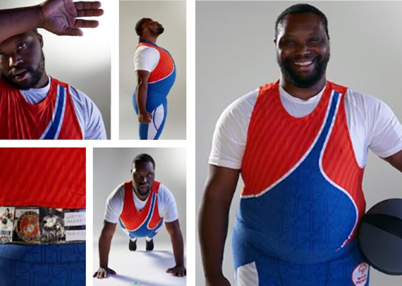 Daniel Fletcher poses in apparel he designed with Parsons School of Design.