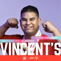 Vince shows his muscles.