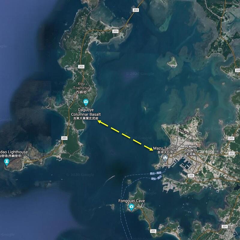 Map of Penghu Bay swim rout.