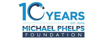 Michael Phelps Foundation logo: 10 years : Established 2008 : Michael Phelps Foundation logo.