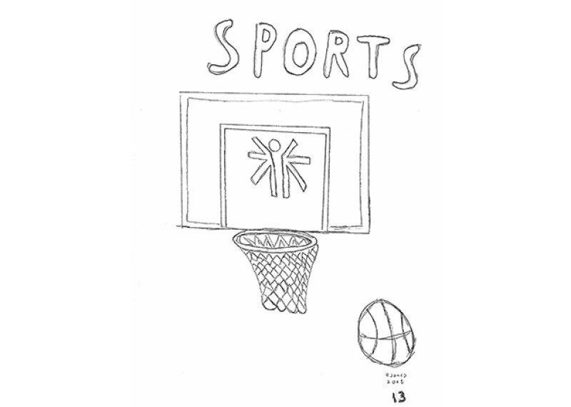 Bobby Jones hand drawn basketball illustration.