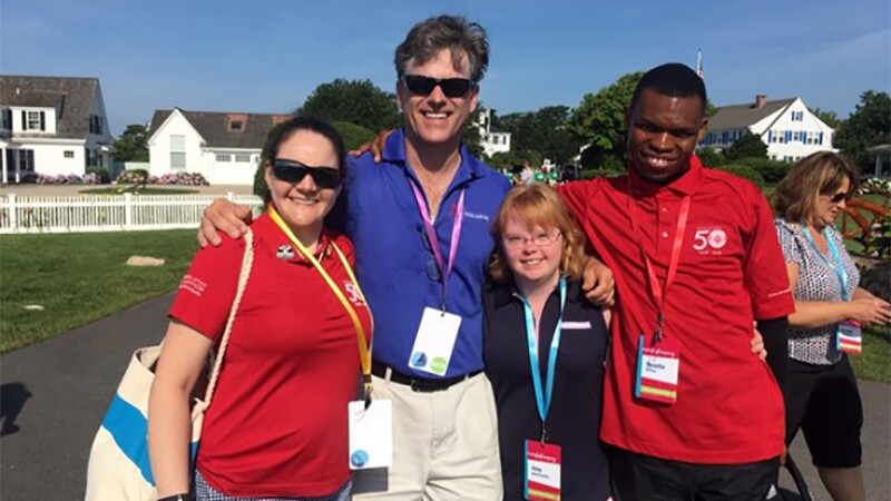 Renee with Special Olympics Chairman Tim Shriver, Amy Bockerstette from Special Olympics Arizona and fellow SSIGM Nyasha Derera from Special Olympics Zimbabwe.