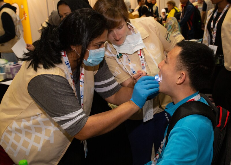 Dental exam at Healthy Athletes screening during the 2019 World Games in Abu Dhabi.