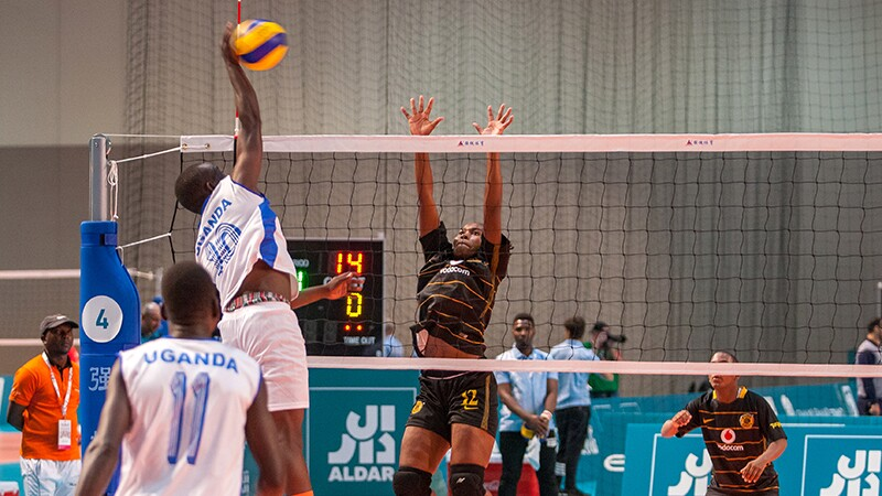 World Games Abu Dhabi 2019: athletes on the court playing indoor volleyball.