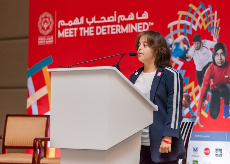 Chaica Al Qassimi giving a speech at the World Games in Abu Dhabi