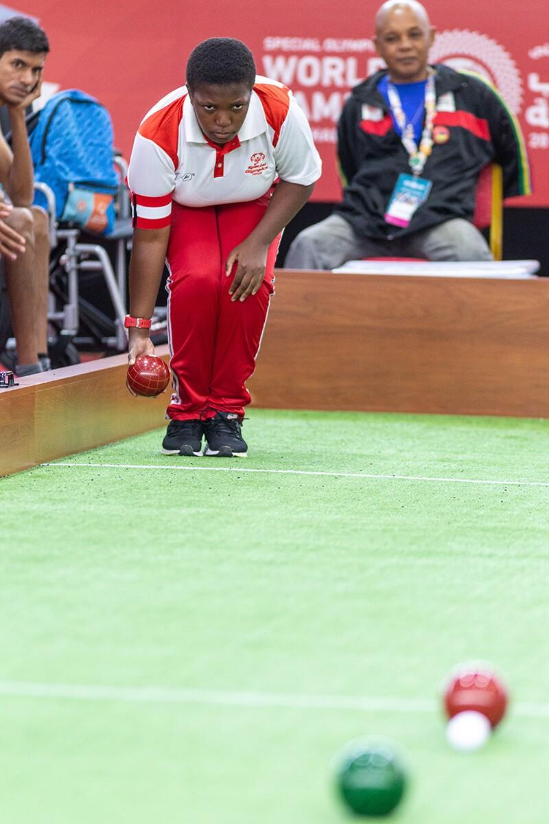 Athlete playing bocce.