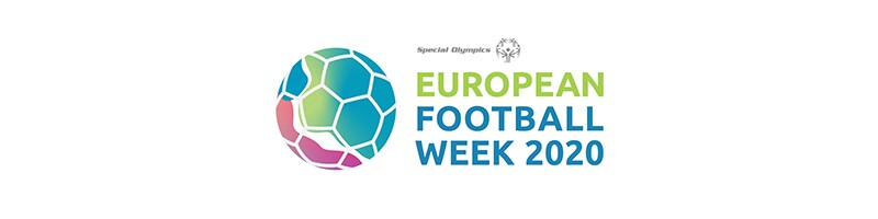 European Football Week 2020 logo. A colorful football on the left with the Special Olympics logo on the right along with text that reads: European Football Week 2020