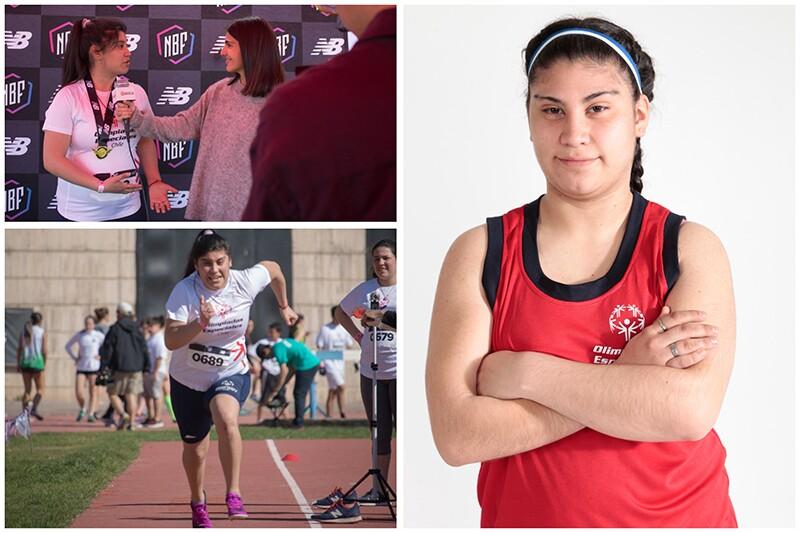 Javiera Saldaña collage. Las fotos la muestran siendo entrevistada por periodista de TV, corriendo en atletismo, y posando sonriente.