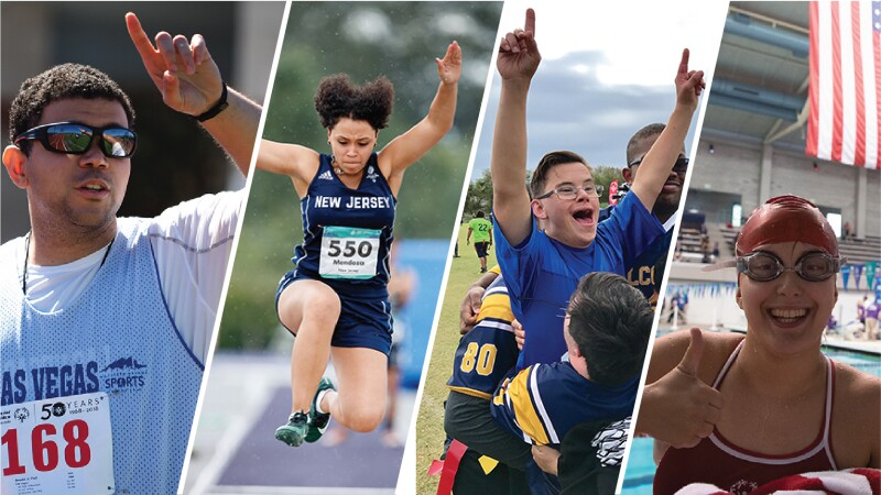 four images of athletes in action poses.