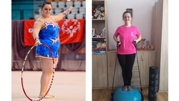 Romana on the left performing artistic gymnastics with a hoop and on the left she's working out at a home gym with resistant bands.