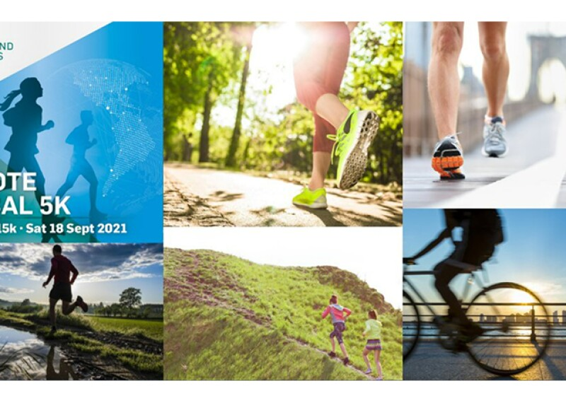 Six images, all of runners in different settings. Text reads: Remote Global 5K #YLGlobal5K - Sat 18 September 2021