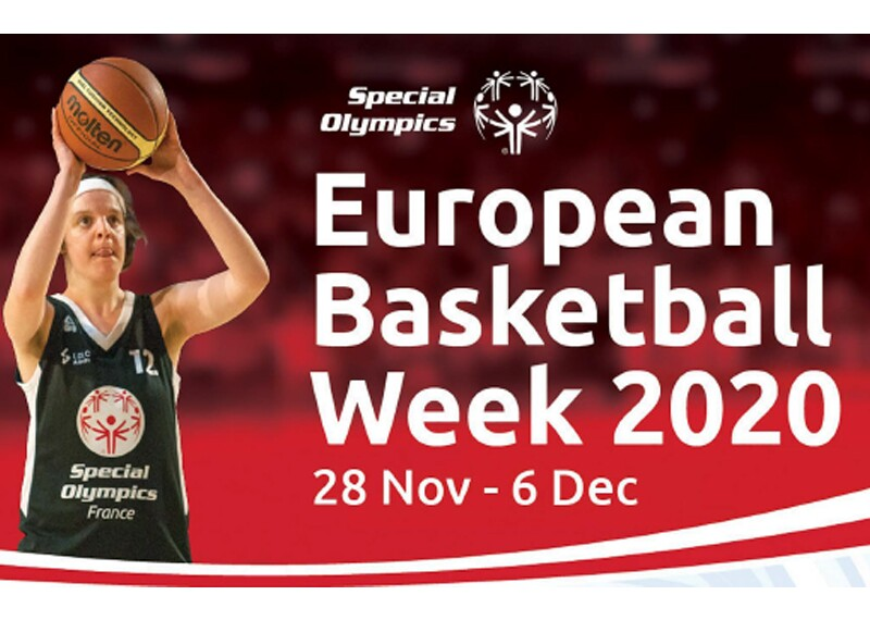 a young woman is shooting the ball; text on the image reads: European Basketball Week 2020 28 November – 6 December