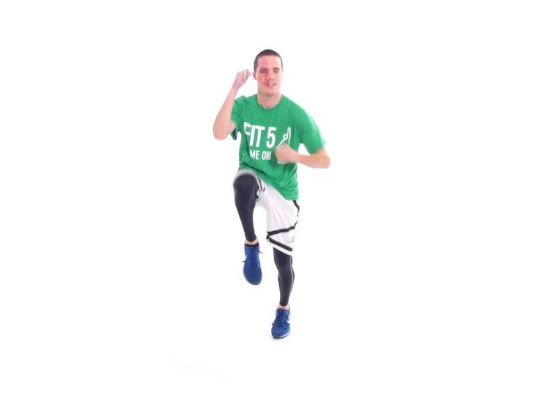 Athlete demonstrating high knee in-place runs.