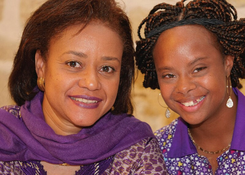 Rajah Sy on left with daughter Khadija, a Special Olympics Senegal athlete.