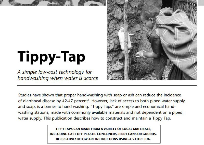 Tippy-Tap a simple low-cost technology for handwashing when water is scarce.