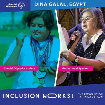 Dina as an athlete on the left and motivational speaker on the right. Dina Galal, Egypt. Inclusion Works: The Revolution is Inclusion