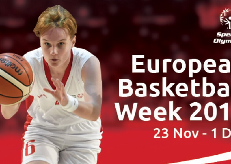 a young woman dribbles the ball; text on the image reads: European Basketball Week 2019 23 November - 1 December