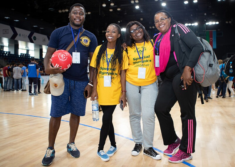 Peter Kanzunguze Jr, a Leo from Blantyre, Malawi (left) with participants at the Special Olympics Global Youth Leadership Forum in Baku, Azerbaijan which took place from 24 to 28 September.