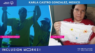 Karla and two other athletes celebrating on the left and Karla showing off her needlepoint on the right.
