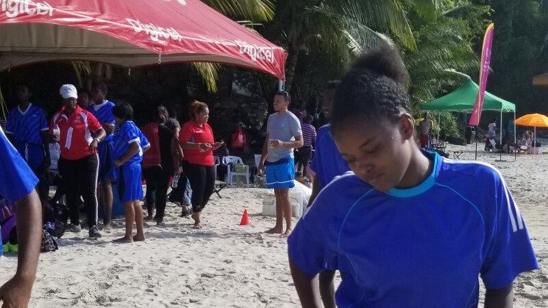"Tamika just before scoring all the points in a 4-0 unified soccer/football match. Tamika, who played on the Trinidad & Tobago national soccer/football team before joining the Special Olympics as a soccer, basketball and field hockey athlete says ""Playing on sand if very different from playing on grass but is still a lot of fun."""