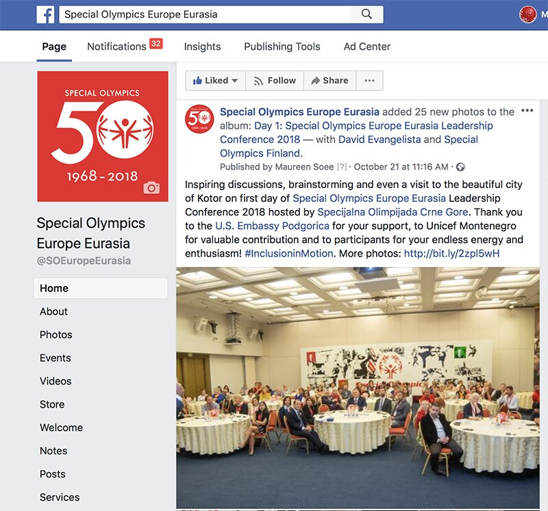 Social media post during the Special Olympics Europe Eurasia Leadership Conference 2018.