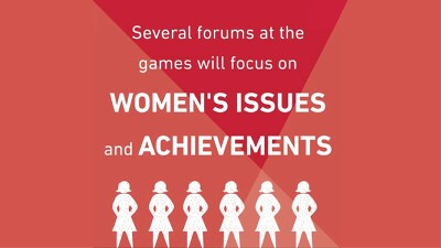 Text reads: Several Forums at the games will focus on Women's Issues and Achievements. 6 illustrations of women.