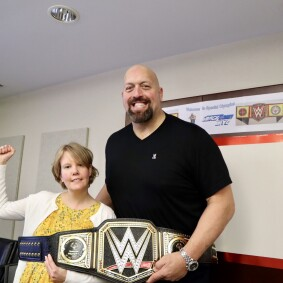 WWE Superstar and Special Olympics Ambassador The Big Show poses for a picture with Special Olympics Athlete Garrie Barnes